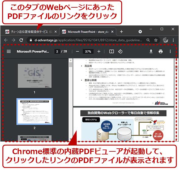 WebページにあったPDFファイルのリンクをクリックすると、Chrome標準の内蔵PDFビューアが起動して、クリックしたリンクのPDFファイルが表示されます
