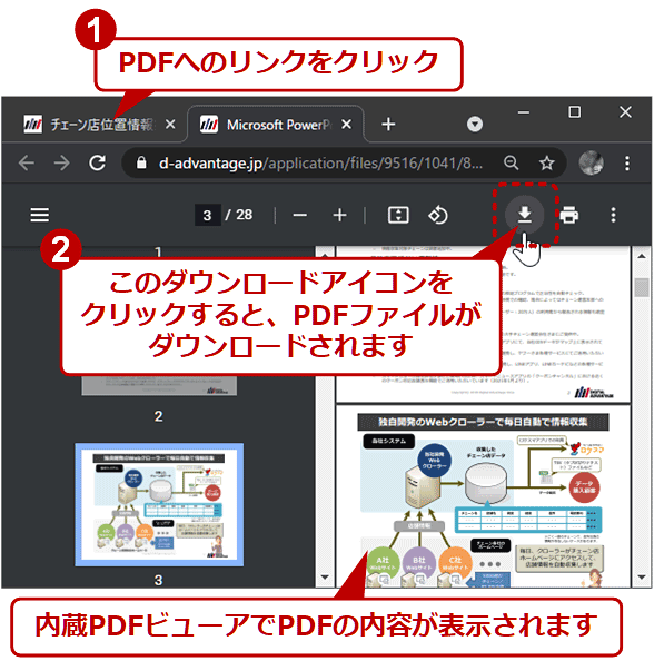 内蔵PDFビューアでPDFの内容が表示されます 1.PDFへのリンクをクリック 2.このダウンロードアイコンをクリックすると、PDFファイルがダウンロードされます
