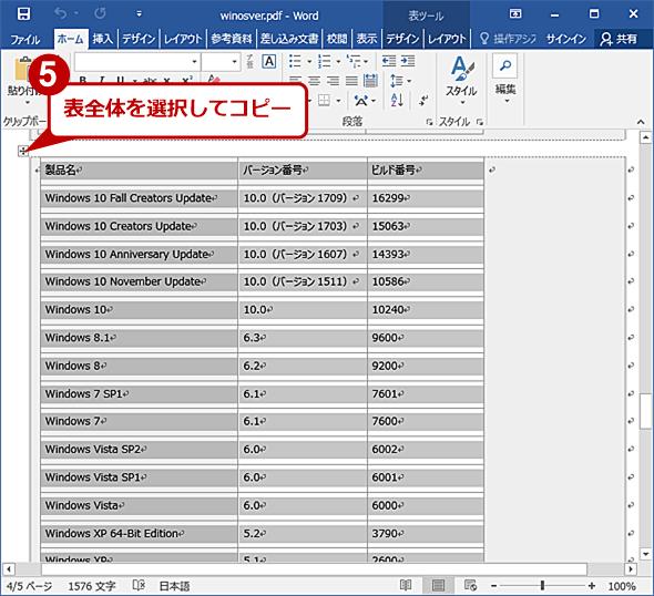 変換した表の部分を別のWord文書にコピーする(1)
