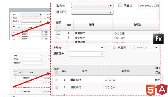 FlexからHTML5/Angularに変換した画面の例