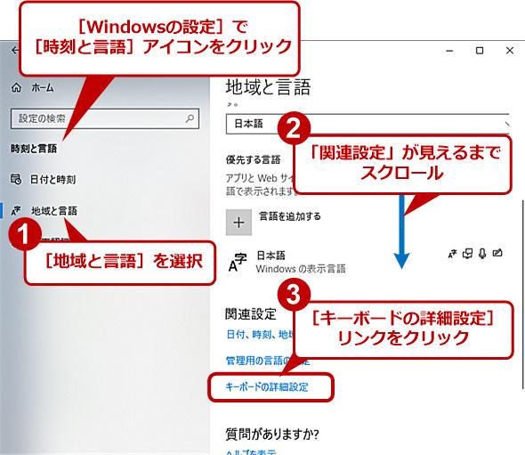 [地域と言語]画面(Windows 10 April 2018 Update)