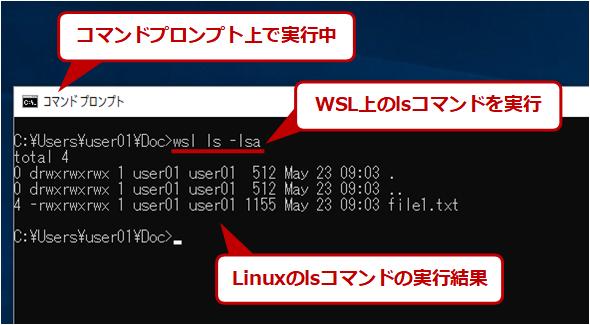 WSL上のコマンドの実行