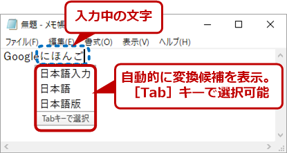 Google日本語入力のサジェスト機能