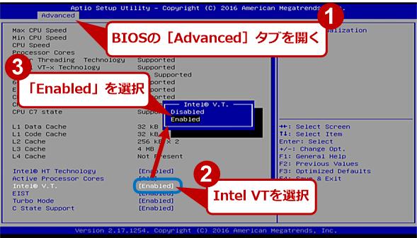 American MegatrendsのBIOSセットアップ画面例