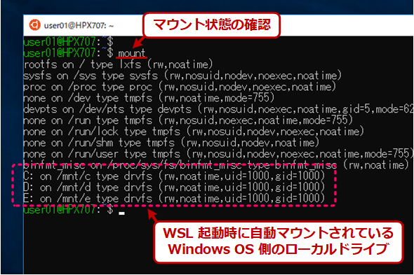 Tech TIPS:Windows 10の「WSL」の自動マウントやfstabによる