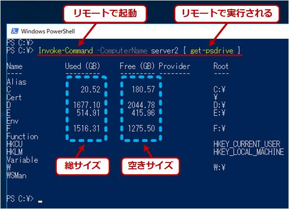 Invoke-CommandとGet-PSDriveでリモートPCのドライブ情報を取得する