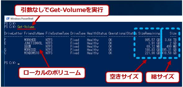 Get-Volumeでボリューム情報を取得する