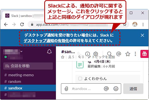 通知の許可に関するメッセージの例(Slack)