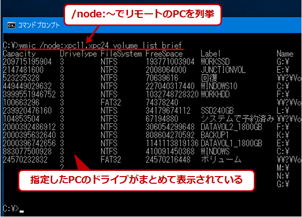 wmicでリモートPCのディスクやボリュームの情報を取得する