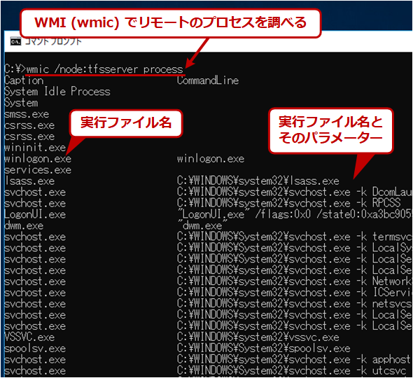 wmicでリモートPCのプロセスを調査する