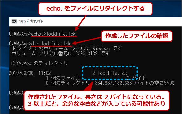 echoコマンドで空(に近い)ファイルを作成する