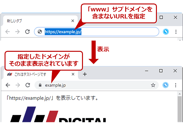 「www」サブドメインが付かないアドレスバーにサブドメインが表示される例