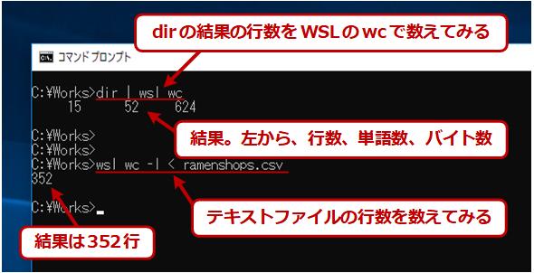WSLのwcを呼び出す