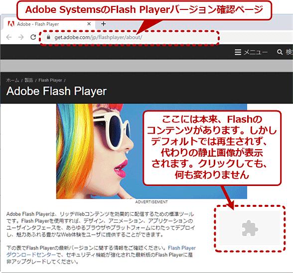 ChromeでFlashのコンテンツが表示されない例