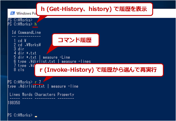 PowerShellにおけるコマンド実行履歴の操作例