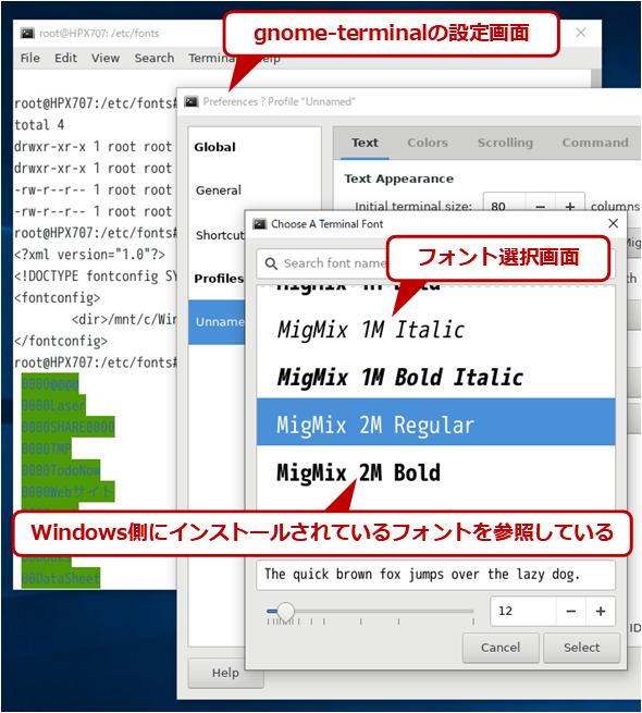 WSLでWindowsフォントを利用する