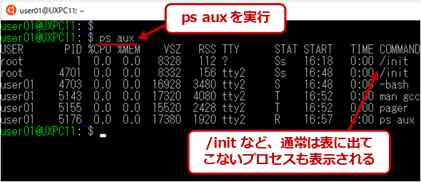 ps auxの実行例