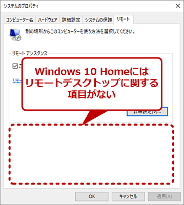 Windows 10 Homeの[システムのプロパティ]ダイアログの[リモート]タブ画面