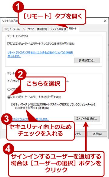リモートデスクトップを有効にする(1)