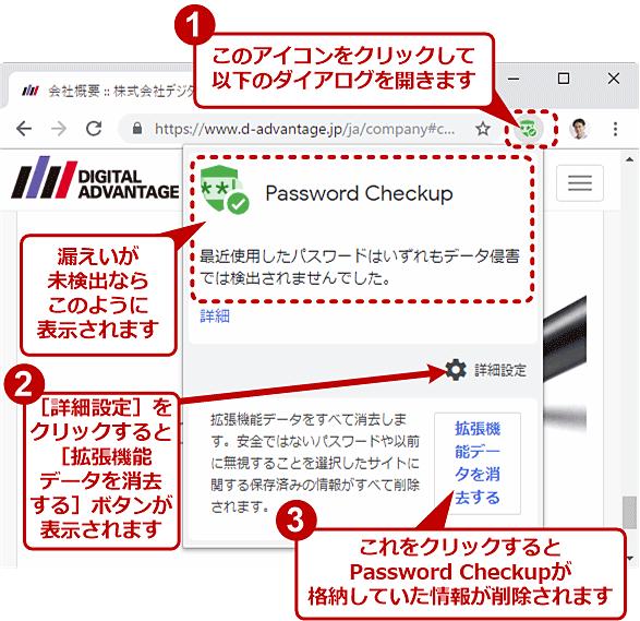 Password Checkupによるパスワード漏えいの検出状況の表示