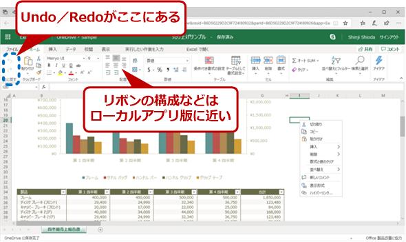 Excel Onlineの画面