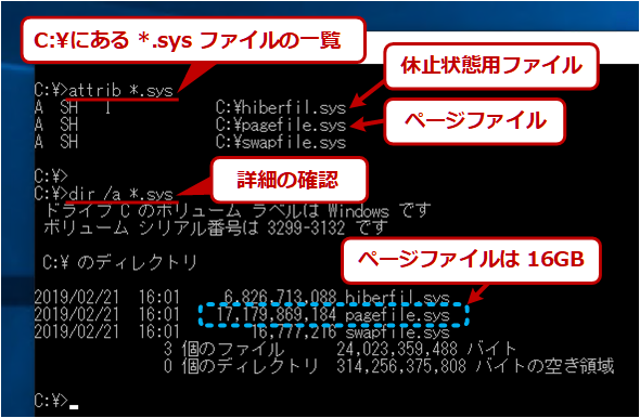 Windows OSのページファイルの例