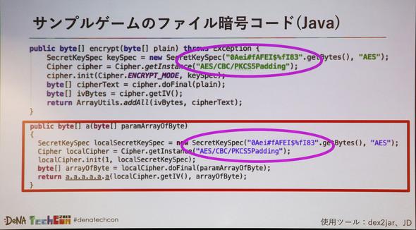 難読化ツール「ProGuard」を適用したAndroidアプリ(Java)で特定(上:サンプルコード、下:ツールを用いて復号したコード)