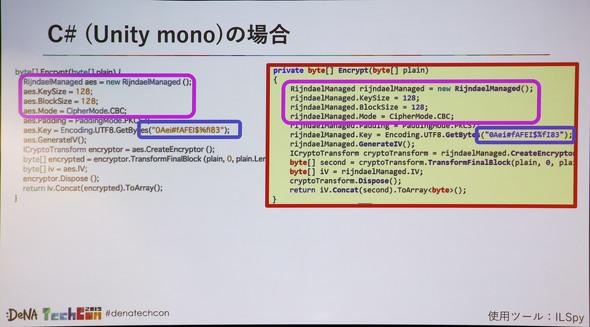 C#を利用したiOSアプリで特定(左:サンプルコード 右:ツールを用いて復号したコード)