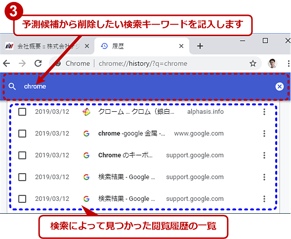 Chromeで特定の単語を含む閲覧履歴を削除する(2/3)