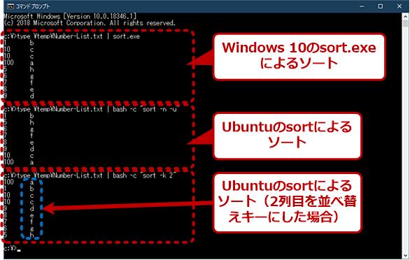 Windows 10のsort.exeとLinuxのsortの比較
