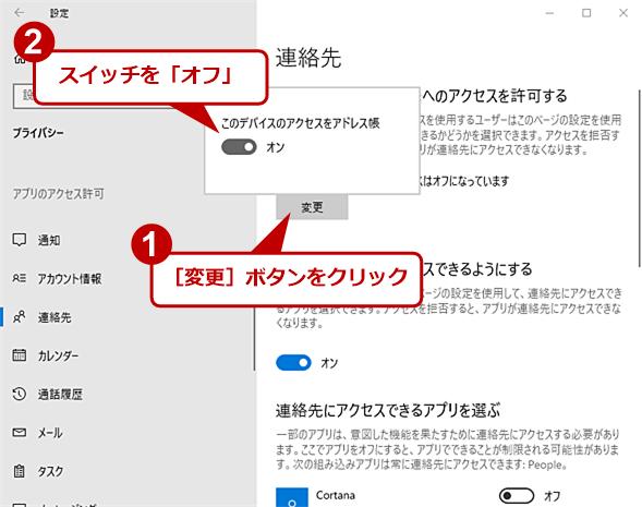 [連絡先]画面(2)
