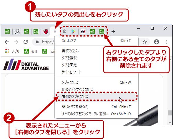Chromeで、特定のタブから右側にあるタブのみ閉じる