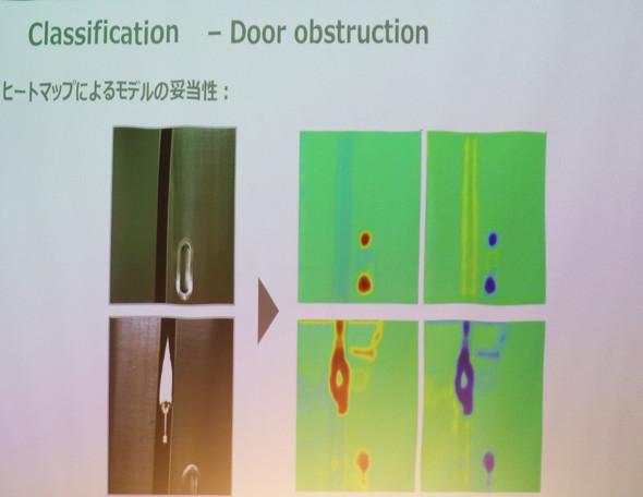AIモデルがドア部分を戸挟み物と検知していた(画面右)