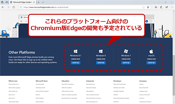 Chromium版Edgeの開発予定