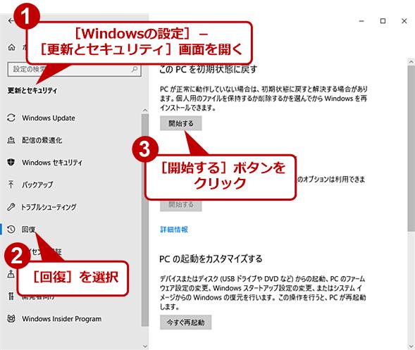 Windows 10を初期化する