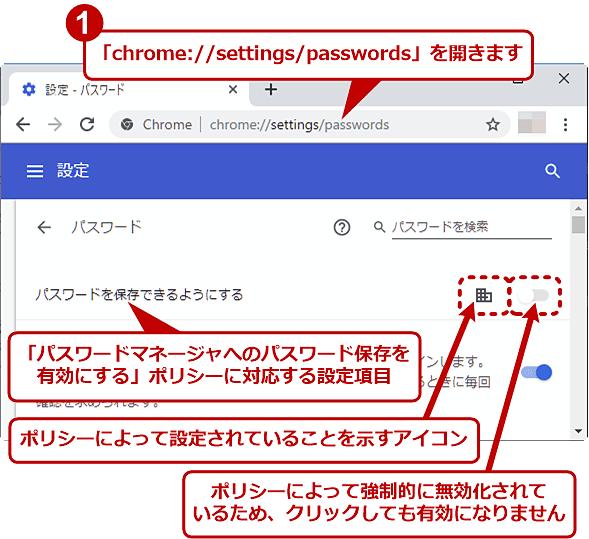 ポリシーによって強制的に無効化されたパスワード保存の設定項目