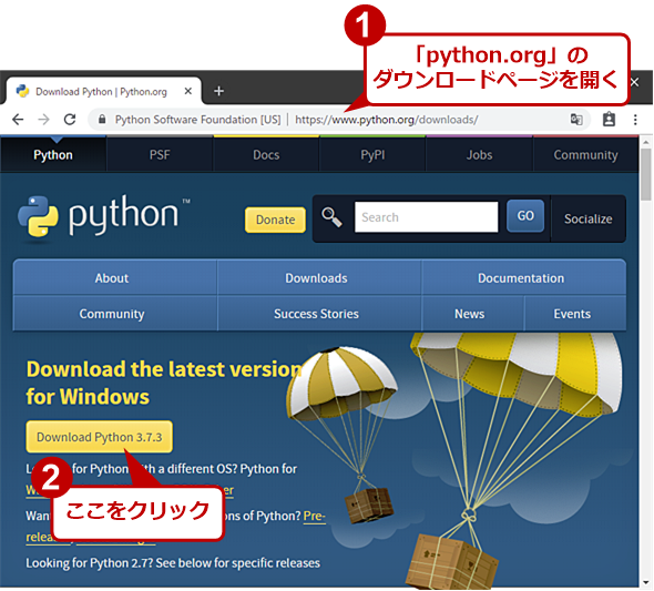 Python Software Foundationのダウンロードページ
