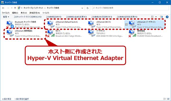 ホスト側に作成されたHyper-V Virtual Ethernet Adapter
