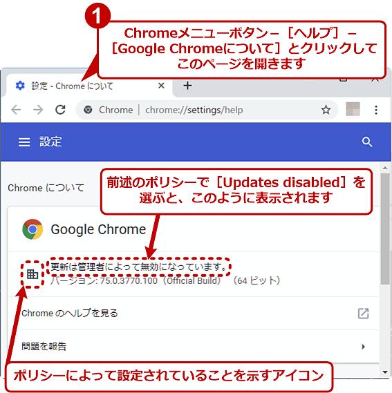 [Updates disabled]を選んだ場合の「Chromeについて」ページの表示内容