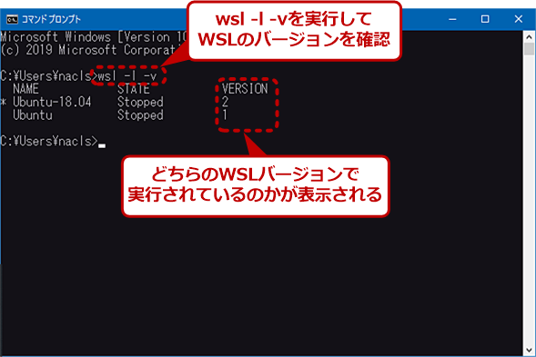 wsl -l -vの実行結果