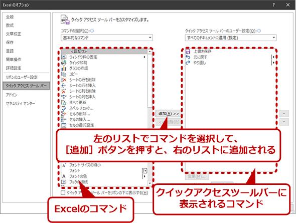クイックアクセスツールバーの設定ウィンドウ(1)