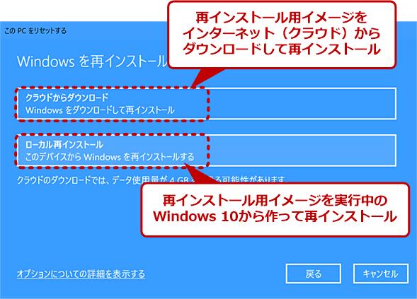 [このPCをリセットする]ウィザード画面