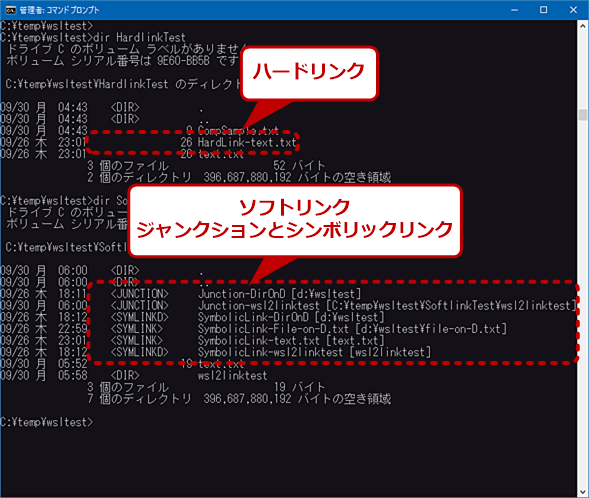 テスト用に作成したNTFSのリンク