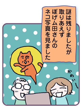 謎は残りましたが、取りあえずぽげム田さんのネコ写真を見ました