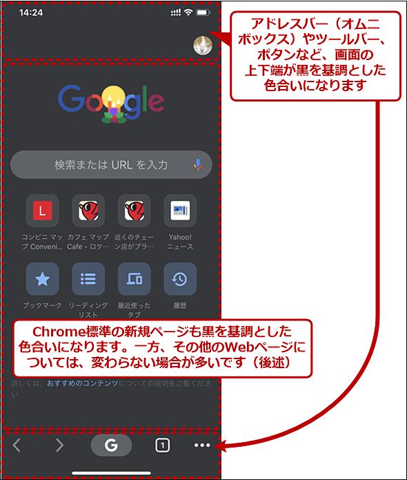 ダークモードになったiPhone(iOS)版Chrome