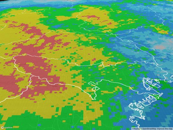 2019年10月12日 12:00の降水量のデータ(出典:ウェザーニューズ)
