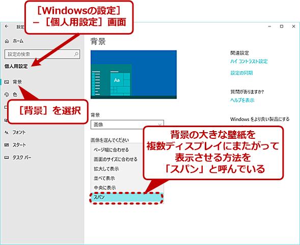 Windows 10の[Windowsの設定]アプリの[個人用設定]画面