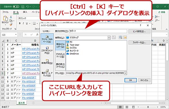 [Ctrl]+[K]キーで[ハイパーリンクの挿入]ダイアログを開く