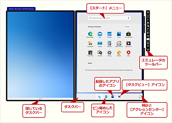 Microsoft Emulator内で動作するWindows10X