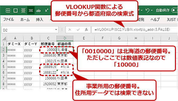 VLOOKUP関数を使った場合の結果